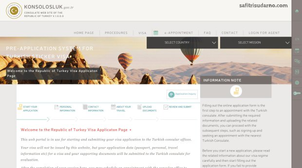 pre-application system of turkish sticker visa
